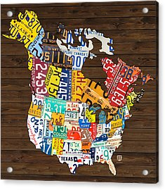 License Plate Map Of North America - Canada And United States Acrylic Print by Design Turnpike