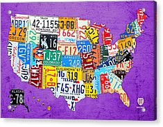 License Plate Map Of The United States On Vibrant Purple Slab Acrylic Print by Design Turnpike