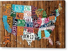 License Plate Map Of The United States - Warm Colors On Pine Board Acrylic Print by Design Turnpike
