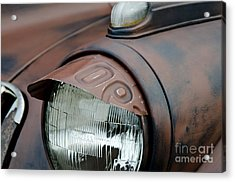 Acrylic Print featuring the photograph License Tag Eyebrow Headlight Cover  by Wilma  Birdwell