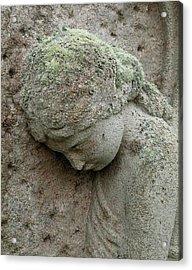 Lichen Growing On Gravestone Acrylic Print by Cordelia Molloy