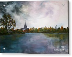 Lichfield Catherdral A View From Stowe Pool Acrylic Print by Jean Walker