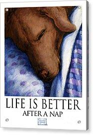 Life Is Better After A Nap - Chocolate Labrador Retriever Sleeping Acrylic Print