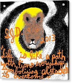 Life Is Like A Path With Lions Everywhere Symbolizing Obstacles To Overcome Acrylic Print by Joe Dillon