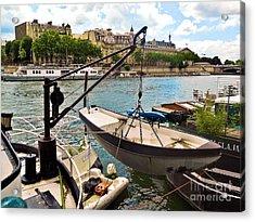 Life On The Seine Acrylic Print by Lauren Leigh Hunter Fine Art Photography