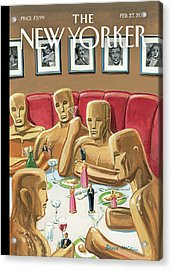 Life Sized Oscar Awards At A Dinner Acrylic Print by Bruce McCall