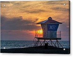 Lifeguard At Beach Acrylic Print by Vwpics - Roberto Lopez
