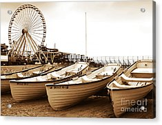 Lifeguard Boats Acrylic Print by John Rizzuto