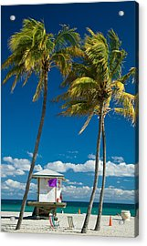 Lifeguard Cabin On Miami Beach Acrylic Print by Celso Diniz