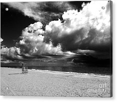 Lifeguard Chair Clouds Acrylic Print