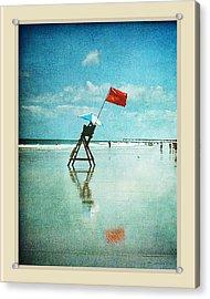 Lifeguard Flag Acrylic Print by Linda Olsen