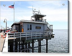 Lifeguard Headquarters On The Municipal Wharf At Santa Cruz Beach Boardwalk California 5d23828 Acrylic Print by Wingsdomain Art and Photography