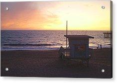 Lifeguard Shack At Sunset Acrylic Print by Mark Barclay