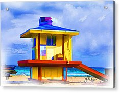 Lifeguard Station Acrylic Print by Gerry Robins