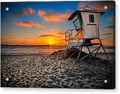 Lifeguard Sunset Acrylic Print by Robbie Snider
