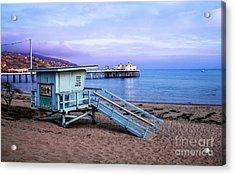 Lifeguard Tower And Malibu Beach Pier Seascape Fine Art Photograph Print Acrylic Print by Jerry Cowart