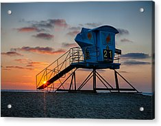 Lifeguard Tower At Sunset Acrylic Print by Peter Tellone