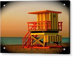Lifeguard Tower In Miami Beach Acrylic Print by Monique Wegmueller
