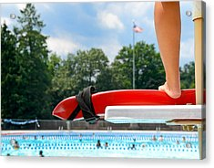 Lifeguard Watches Swimmers Acrylic Print
