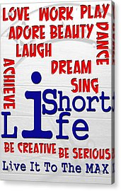 Lifeisshort Acrylic Print by Amr Miqdadi