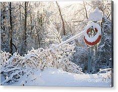 Lifesaver In Winter Snow Acrylic Print by Elena Elisseeva