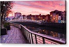 Acrylic Print featuring the photograph Liffey Boardwalk At Dawn - Dublin by Barry O Carroll