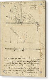 Lifting By Means Of Pulleys Of Beam With Extremity Fixed To Ground From Atlantic Codex Acrylic Print by Leonardo Da Vinci