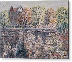 Acrylic Print featuring the painting lifting dark Nuremberg emperors castle by Alfred Motzer