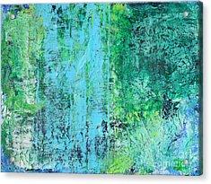 Light Blue Green Abstract Explore By Chakramoon Acrylic Print by Belinda Capol