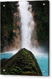 Light-blue Waterfall Acrylic Print by Rosvin Des Bouillons