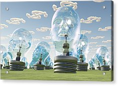 Light Bulb Heads And Dollar Symbol Clouds Acrylic Print by Bruce Rolff
