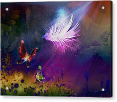 Acrylic Print featuring the painting Light Feather by Lilia D
