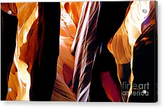 Slot Canyon - Light From Above 8 Acrylic Print by Linda  Parker