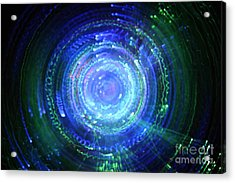Light From Fiber Optic Swirl Acrylic Print by Sami Sarkis