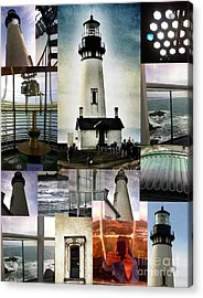 Light House Collage Acrylic Print by Susan Garren