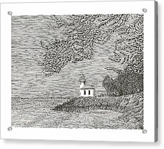 Light House On San Juan Island Lime Point Lighthouse Acrylic Print by Jack Pumphrey