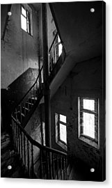 Light In The Dark Abandoned Staircase Acrylic Print by Dirk Ercken