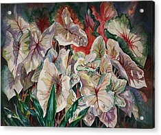 Acrylic Print featuring the painting Light Play Caladiums by Roxanne Tobaison