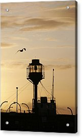 Light Ship Silhouette At Sunset Acrylic Print