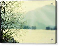 Light Streams Over A Mountain Acrylic Print by Roberta Murray