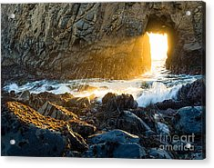 Light The Way - Arch Rock In Pfeiffer Beach In Big Sur. Acrylic Print by Jamie Pham