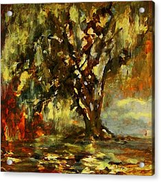 Light Through The Moss Tree Landscape Painting Acrylic Print
