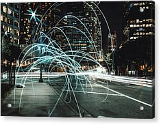 Light Trails On City Road At Night Acrylic Print by Kevin Martinez / Eyeem