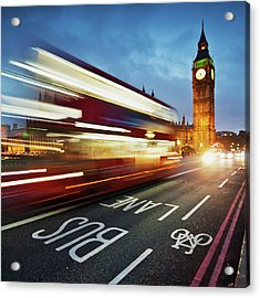 Light Trails On Westminster Bridge With Acrylic Print by Ricardolr
