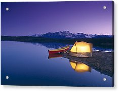 Lighted Tent & Canoe Byers Lake Tokosha Acrylic Print by Michael DeYoung