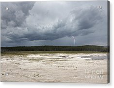 Lightening At Yellowstone Acrylic Print by Belinda Greb