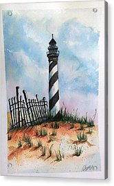 Acrylic Print featuring the painting Lighthouse And Fence by Richard Benson