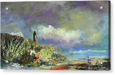 Lighthouse And Fisherman Acrylic Print