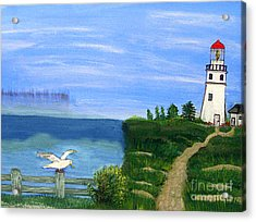 Lighthouse And Seagull 2 Acrylic Print by Mindy Bench