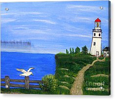Lighthouse And Seagull  Acrylic Print by Mindy Bench